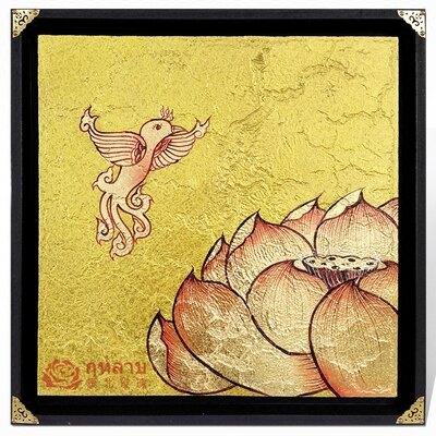 泰國進口手繪金箔畫 荷花蓮花裝飾畫 玄關壁掛客廳裝飾畫會所墻飾1入