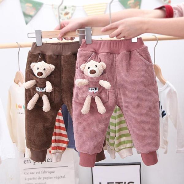 兒童棉褲 童裝女童加絨褲子冬款兒童加厚保暖棉褲外穿女寶寶冬裝休閒褲【快速出貨八折搶購】