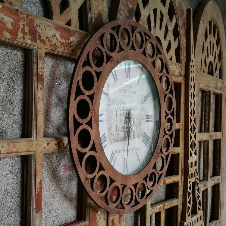 美式鄉村復古雕花裝飾掛鐘 墻上裝飾品家居鐘表 創意時鐘1入