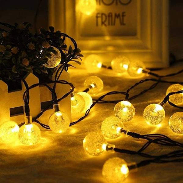 [拉拉百貨]太陽能2米20燈串 水晶球 戶外防水氣泡燈串 浪漫裝飾陽台櫥窗聖誕燈 婚慶浪漫閃燈