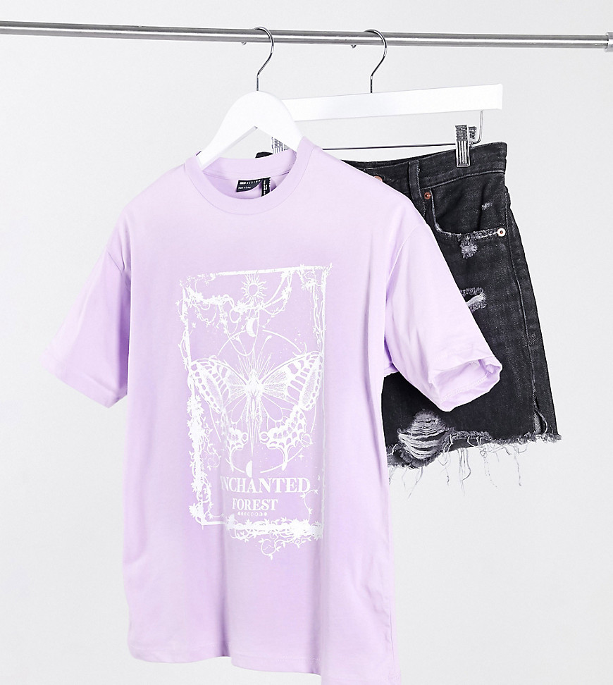 ASOS DESIGN Petite oversized t-shirt with mystic butterfly motif in puff print in lilac-Purple