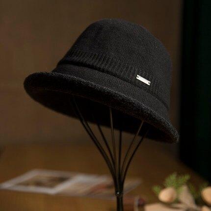 帽子女冬季時尚韓版針織女式秋冬季禮帽洋氣百搭漁夫帽中老年盆帽『xxs9823』
