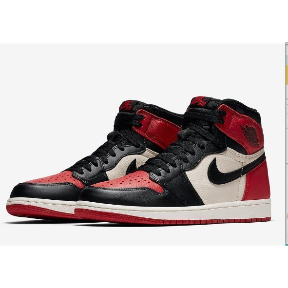 NIKE喬丹 Air Jordan 1 Retro High OG 'Bred Toe' 555088-610籃球鞋男女