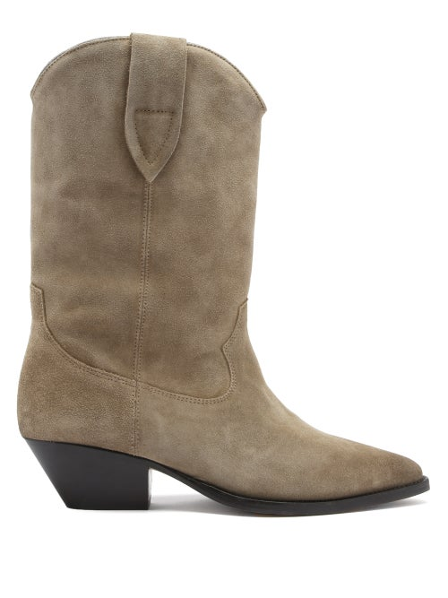 Isabel Marant - Duerto Suede Western Boots - Womens - Beige