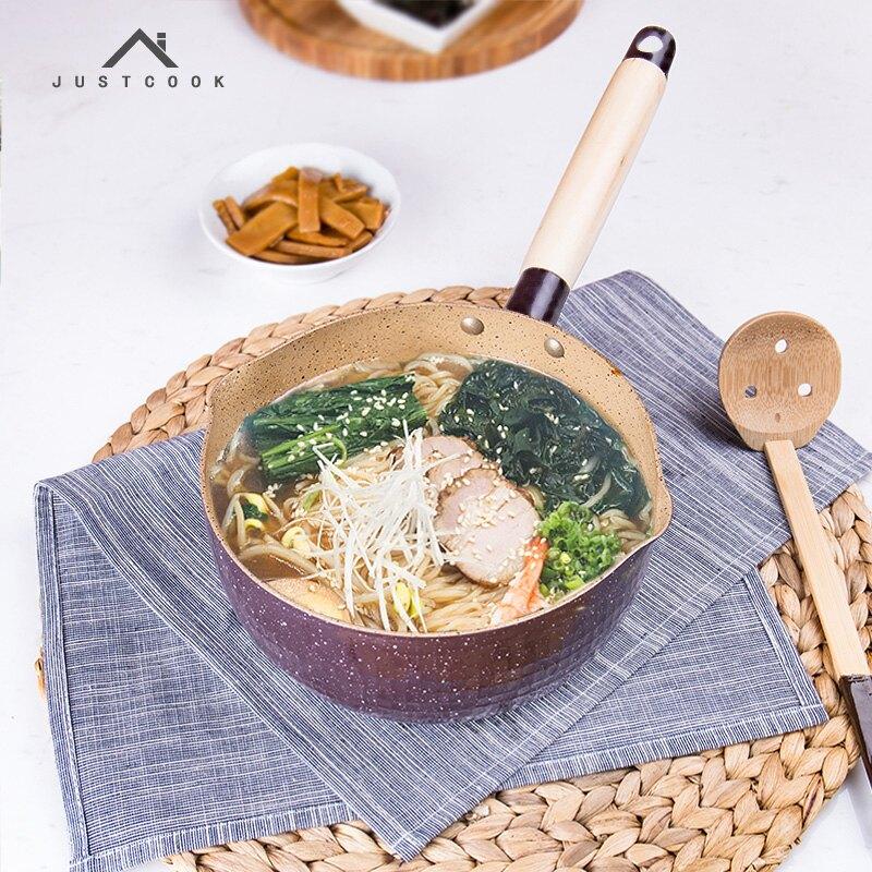 18cm日式雪平鍋奶鍋陶瓷不黏鍋湯鍋煮面料理加厚電磁爐通用