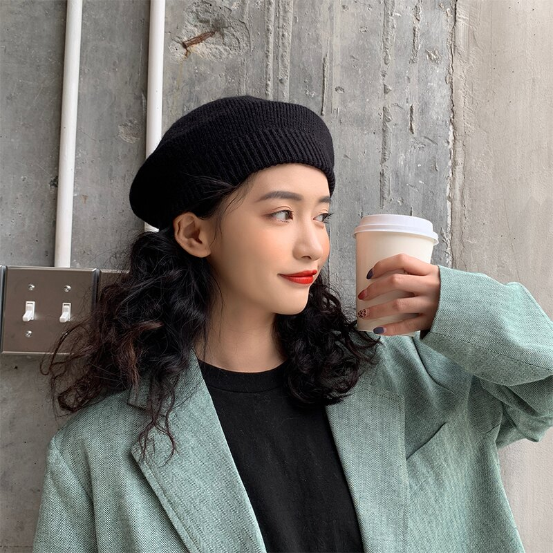 秋冬帽子女韓版百搭針織貝雷帽保暖毛線帽蓓蕾帽女絨線畫家帽1入