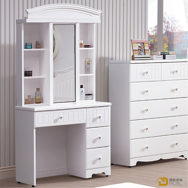D&T 德泰傢俱 Martha白色2.7尺鏡台(含椅) A023-B140-05