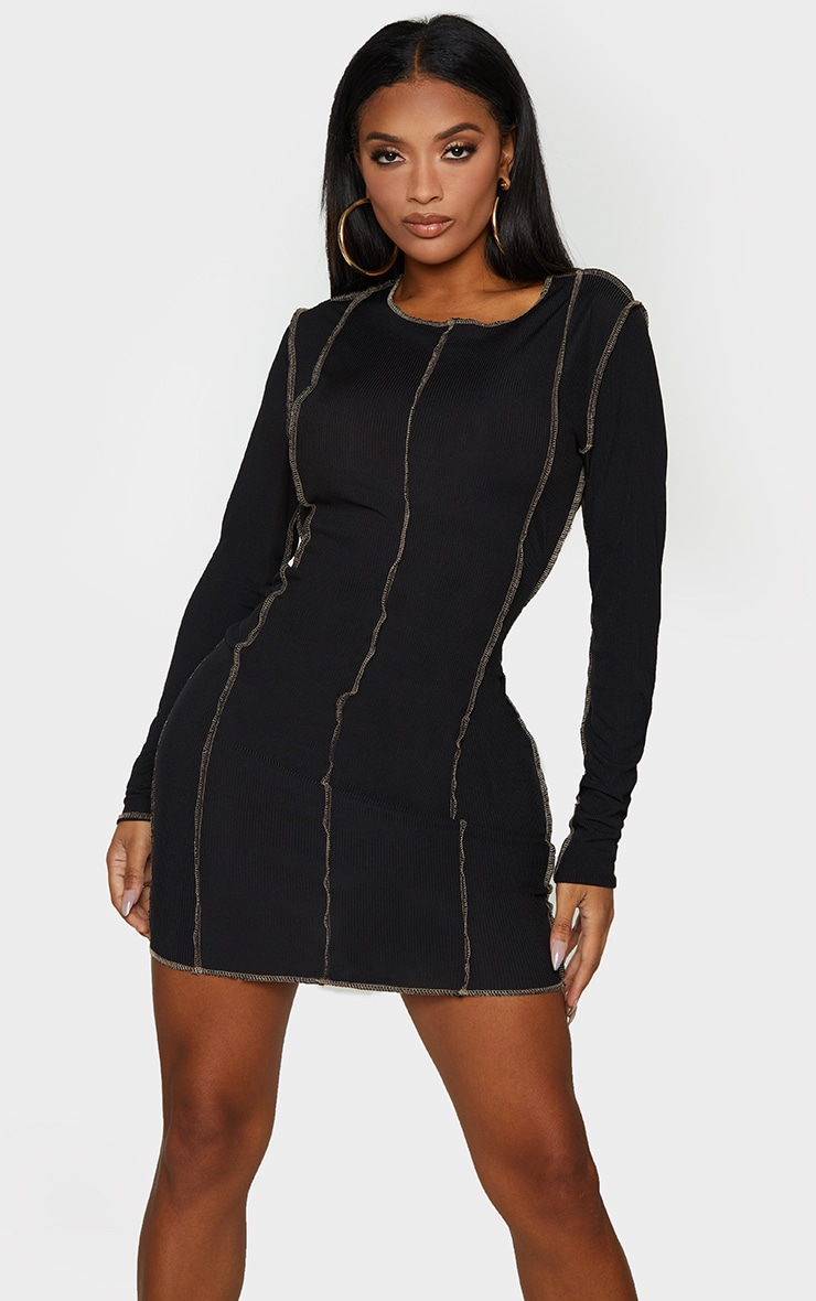 Shape Black Rib Overlock Seam Detail Bodycon Dress