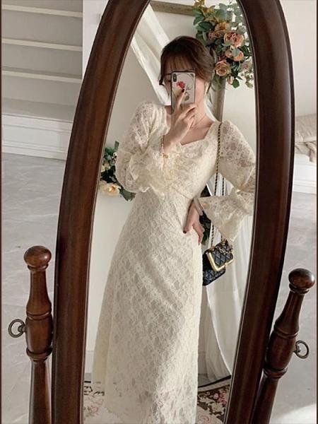 年會禮服 法式復古方領年會禮服氣質超仙女白色蕾絲連衣裙子秋冬新款【快速出貨八折下殺】