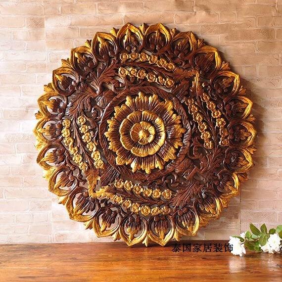 泰國特色家居創意禮品柚木掛板 東南亞工藝品墻面壁飾1入