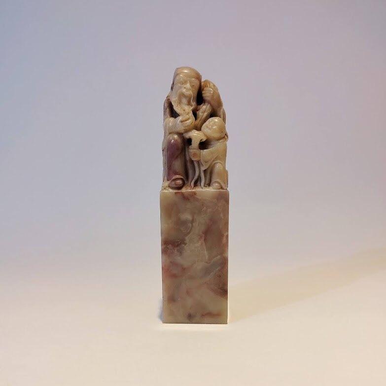 巴林石雕壽翁童子[福星高照]印石擺件 (3.5x13.5cm)
