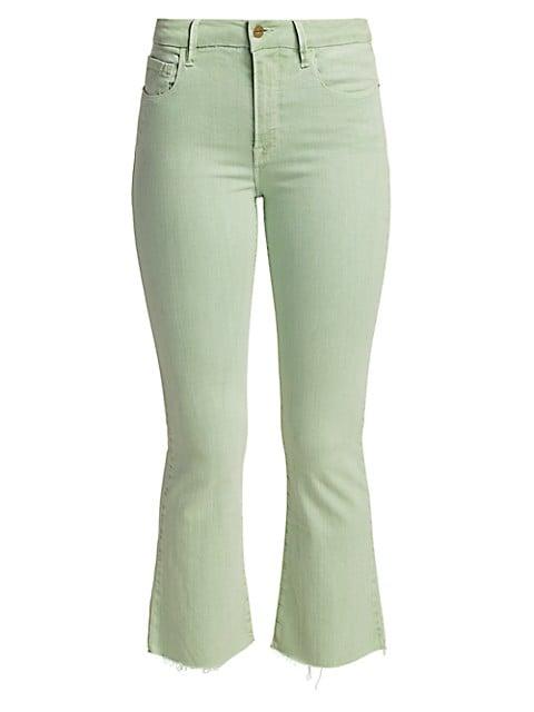 Le Crop High-Rise Mini Bootcut Raw-Hem Jeans
