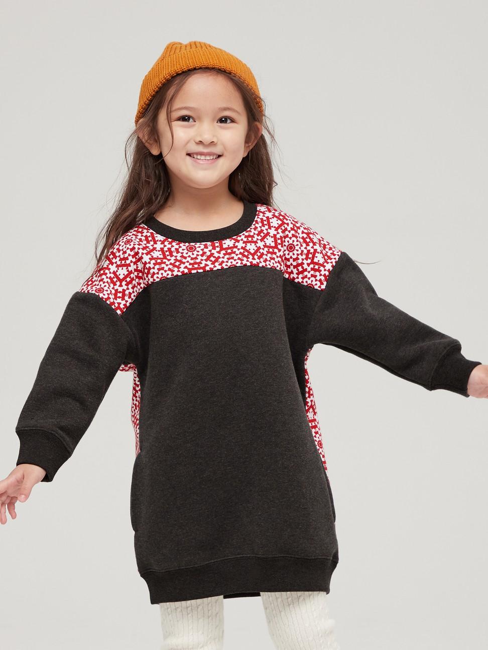女童 碳素軟磨系列 時尚花卉拼接洋裝