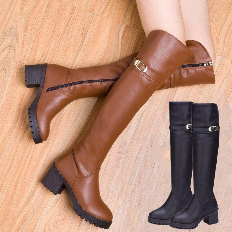 現貨免運|2020新款真軟皮拉鏈過膝長靴長筒高跟粗跟冬季百搭加絨保暖棉靴女|好穿不貴