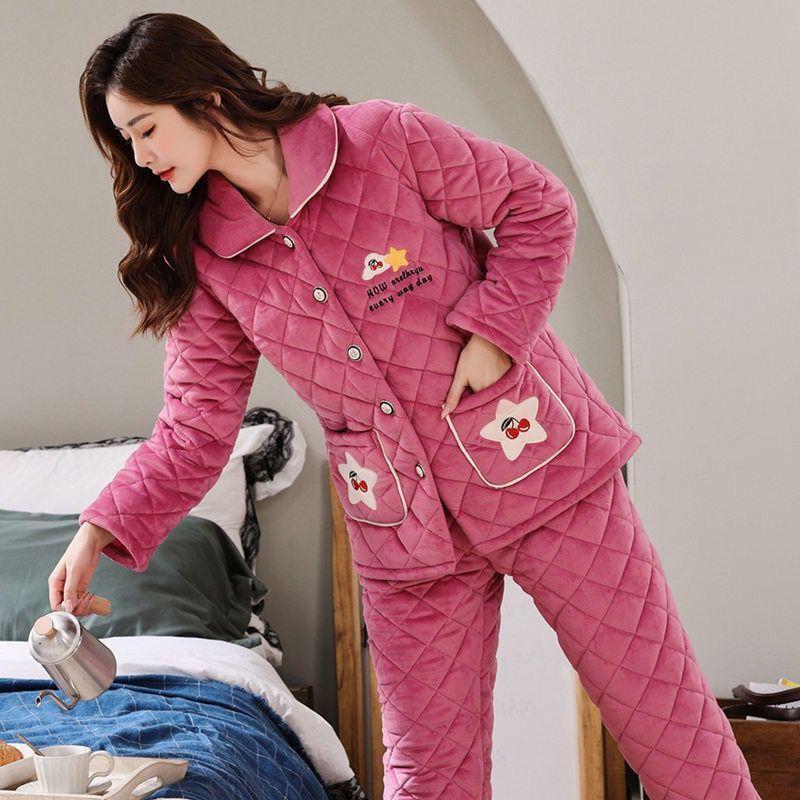 冬季女士夾棉睡衣三層保暖加厚家居服加大碼珊瑚絨少女棉襖套裝