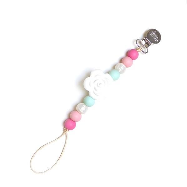 加拿大 Loulou lollipop 嬰幼兒山茶花串珠奶嘴夾/奶嘴鍊夾-薔薇粉