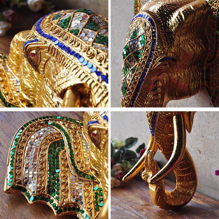 東南亞風格實木雕刻象頭墻掛壁掛裝飾賓館酒店會所大堂裝飾品掛件1入