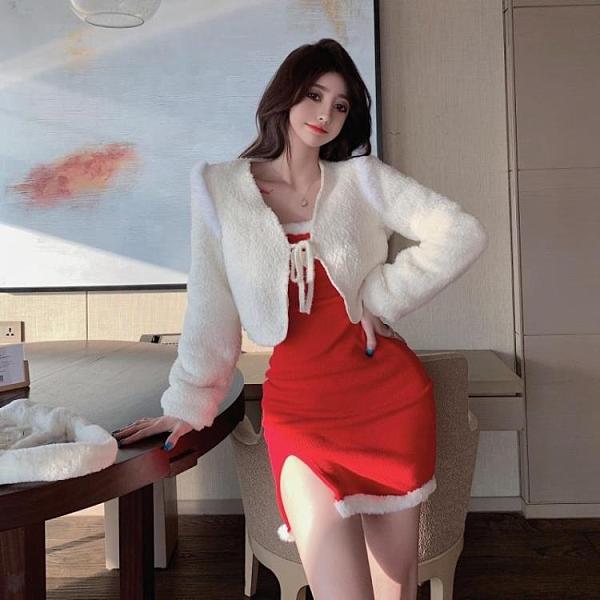 連身裙 新年紅色吊帶洋裝女冬加厚打底裙2020性感修身內搭裙子外套-Milano米蘭
