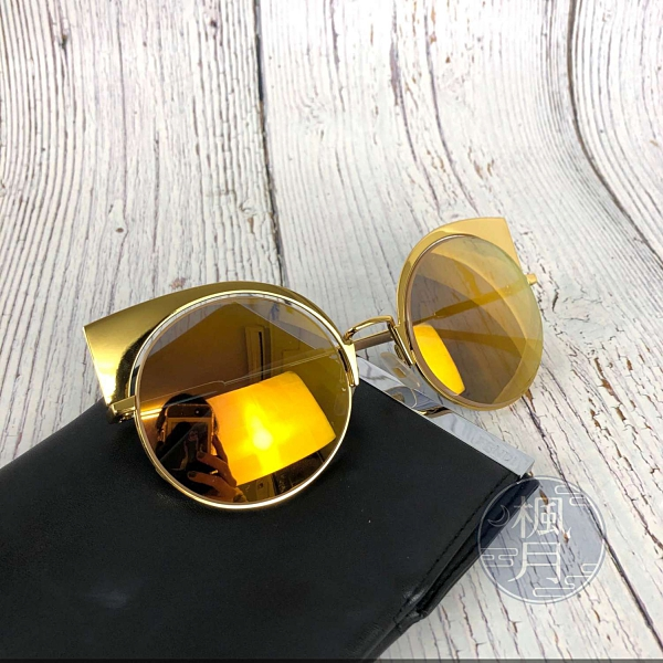 BRAND楓月 FENDI芬迪 炫彩 鏡面 圓型 貓眼 造型 墨鏡 太陽眼鏡 精品 配件