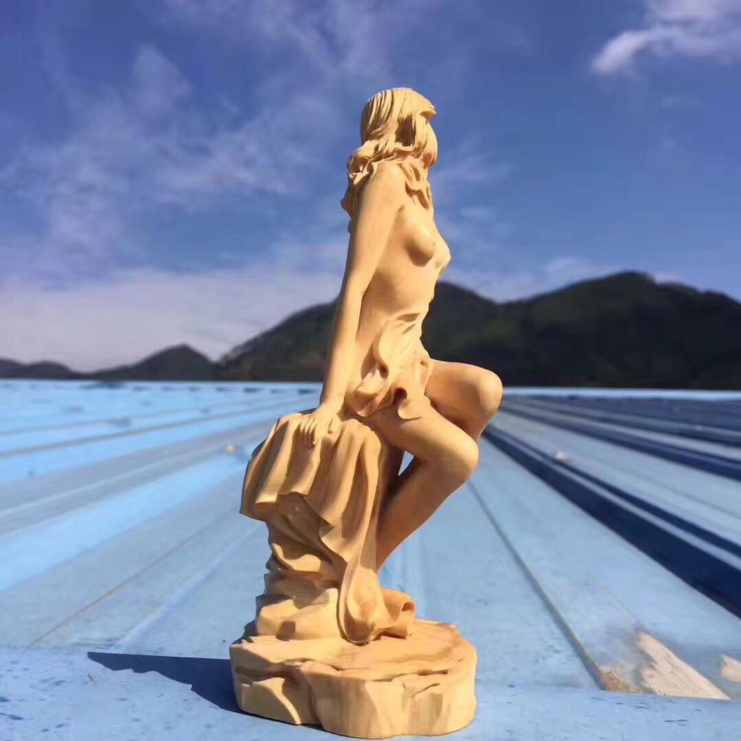 崖柏黃楊木雕女神工藝品文玩手把件汽車家居美女人物擺件收藏送禮1入