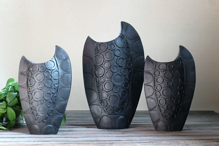 歐式月牙陶瓷花瓶3件套 櫥窗陳列 樣板房擺件 家居復古裝飾 孤品1入