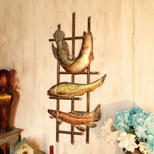 地中海風格軟裝壁飾做舊海洋主題家裝飾品立體鐵藝墻壁裝飾魚墻飾1入
