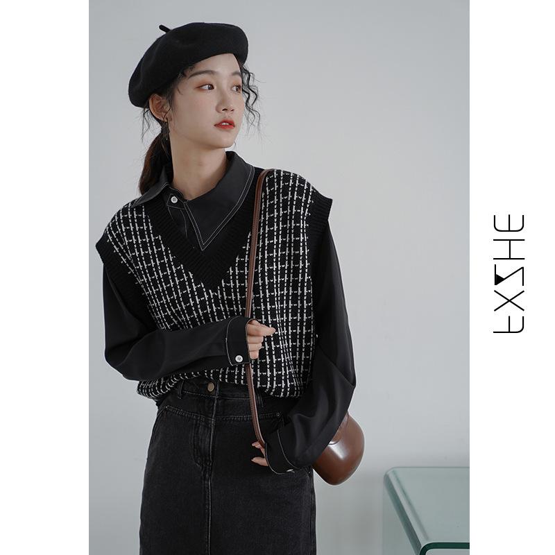 2020秋款坎肩新款針織馬甲秋冬季外穿設計感毛衣背心女韓版外搭潮