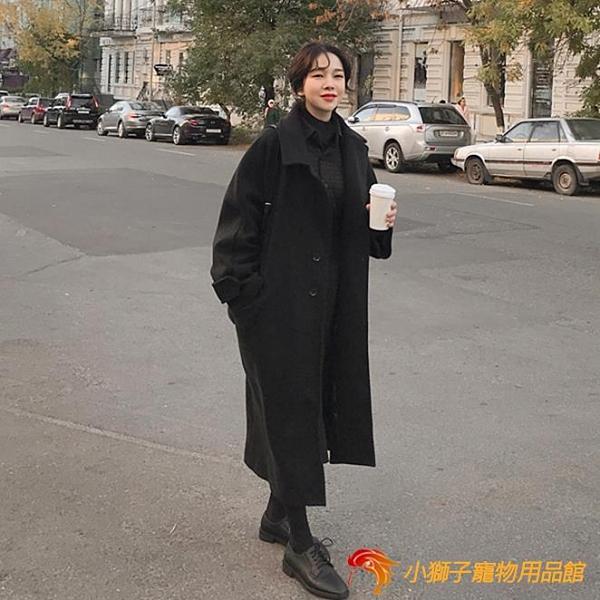 毛呢子大衣女中長款秋冬寬鬆加厚過膝外套【小獅子】
