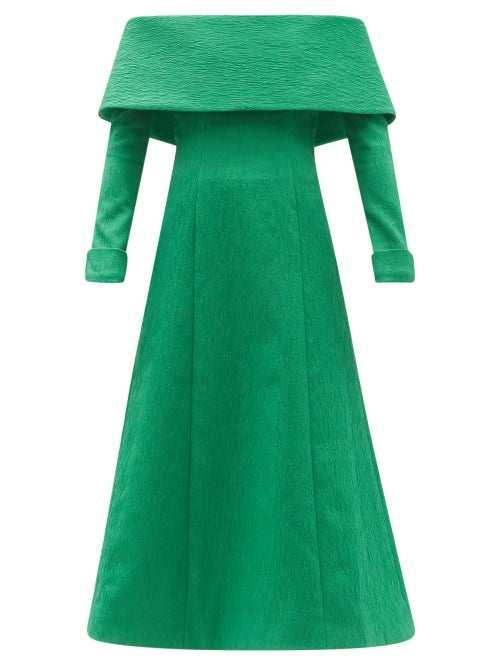 Emilia Wickstead - Carole Off-the-shoulder Cloqué Midi Dress - Womens - Green