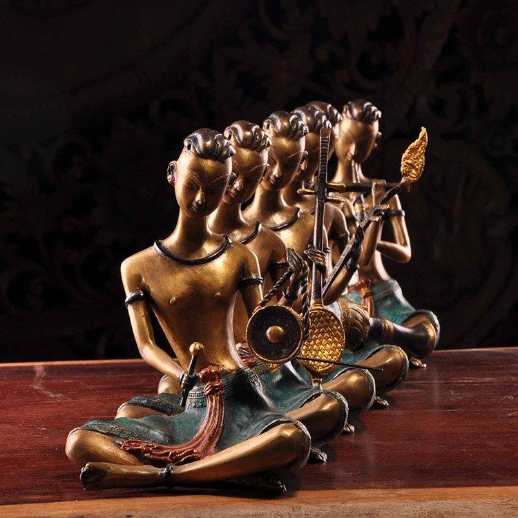 泰國進口黃銅擺設東南亞家居飾品客廳書房裝飾樂傭樂器人物擺件1入
