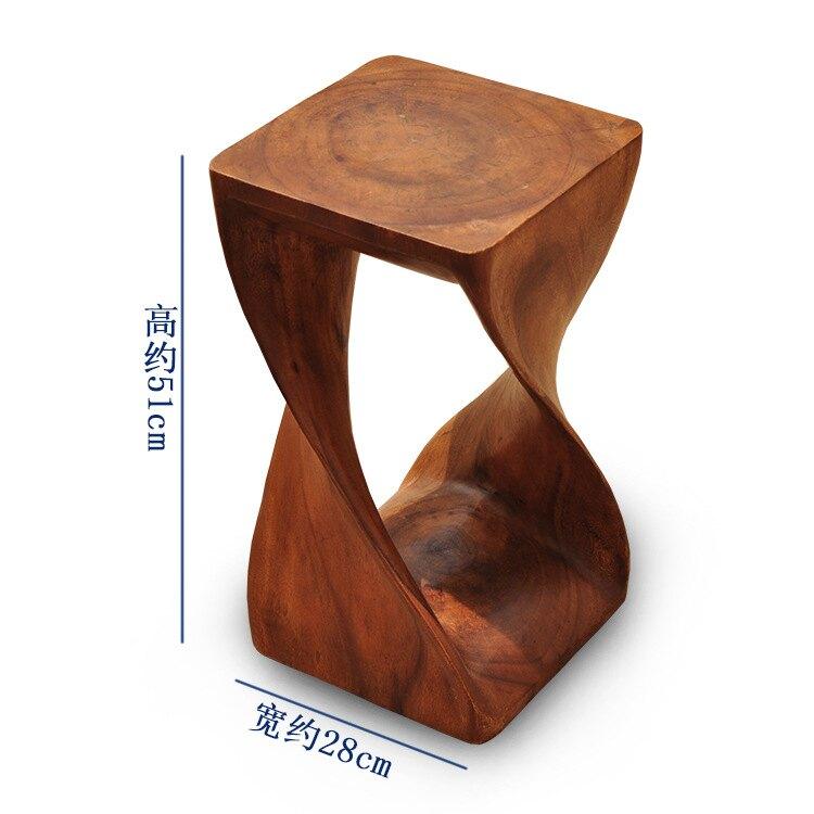 泰國工藝品 東南亞家居純手工實木整雕個性抽象立體凳 換鞋凳擺件1入