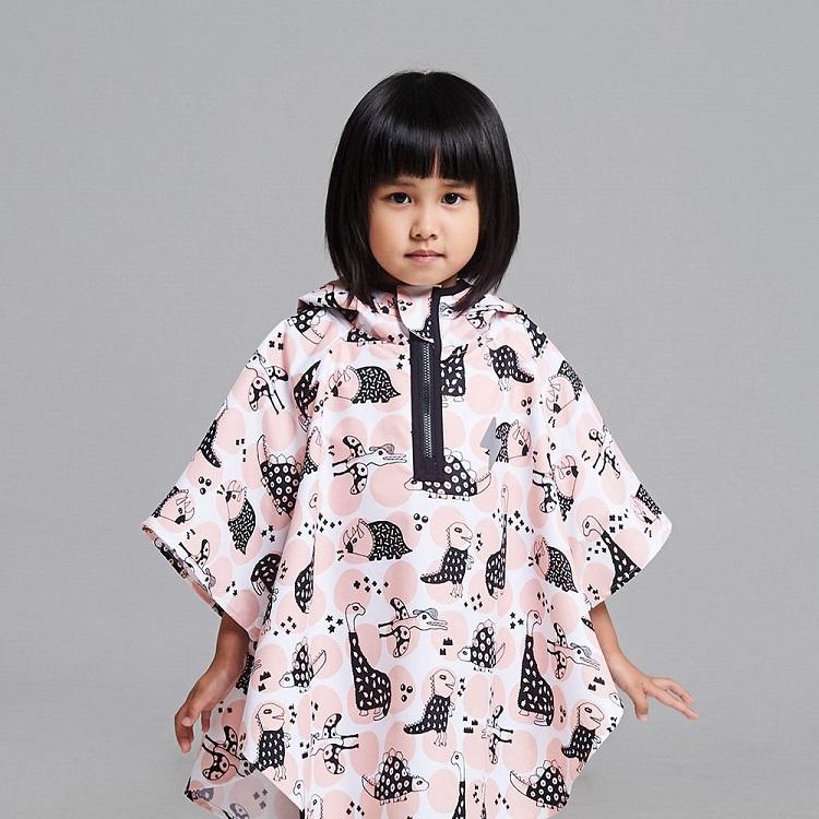 台灣 OGG 幼兒防水斗篷雨衣 (粉樣恐龍S/M/L)