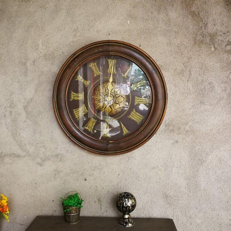 鄉村復古家居實木墻上壁掛裝飾鐘表 客廳酒店會所掛鐘1入