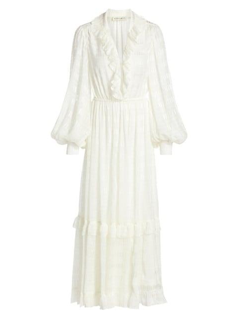 Pamela Silk Peasant Midi Dress