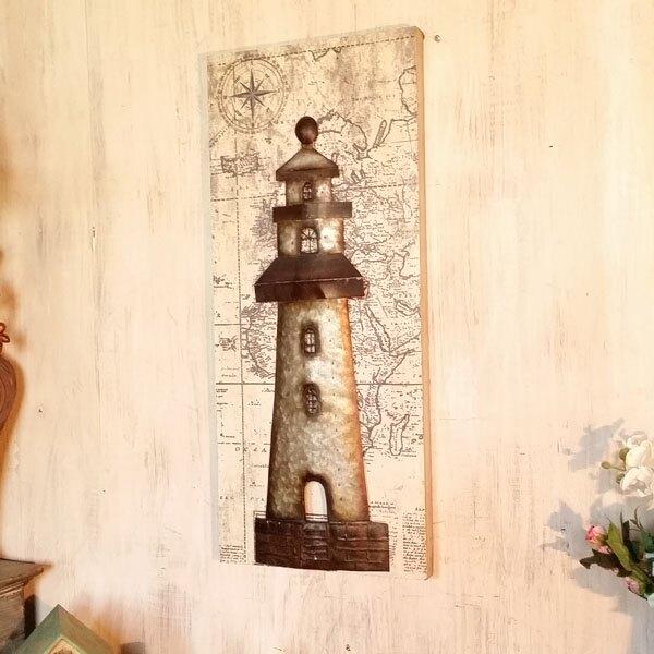 地中海燈塔壁飾掛飾墻飾 客廳書房家居墻上裝飾品掛件立體鐵皮畫1入