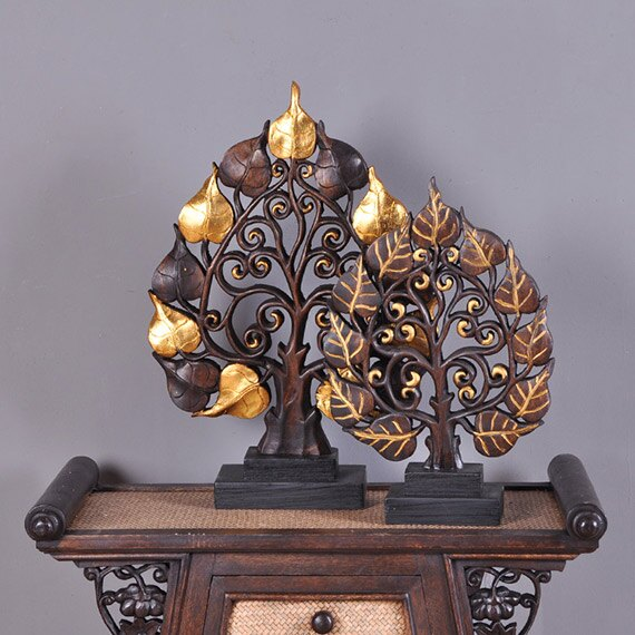 泰國特色工藝品 東南亞家居裝飾桌面招財菩堤葉子擺件 玄關擺設1入