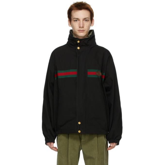 Gucci 黑色 and 绿色防撕面料双面夹克