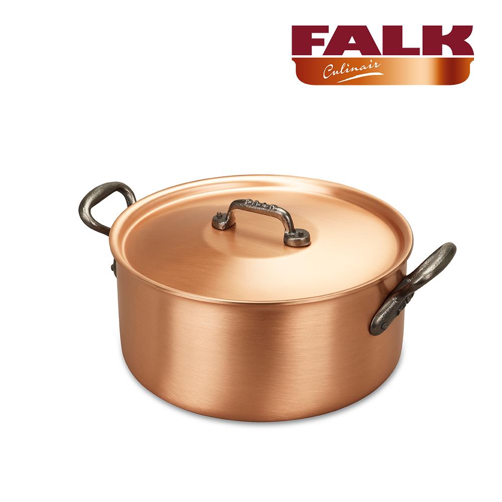 全新福利品-比利時FALK紅銅湯鍋24cm-經典款(含鍋蓋)加碼送FALK感應IH鐵板(福利品)