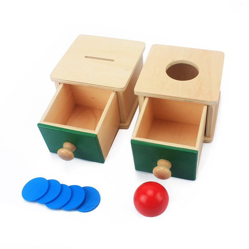 【樹年】木製圓球投幣盒蒙氏抽屜兒童蒙氏早教益智學習玩具幼兒1-3歲教具