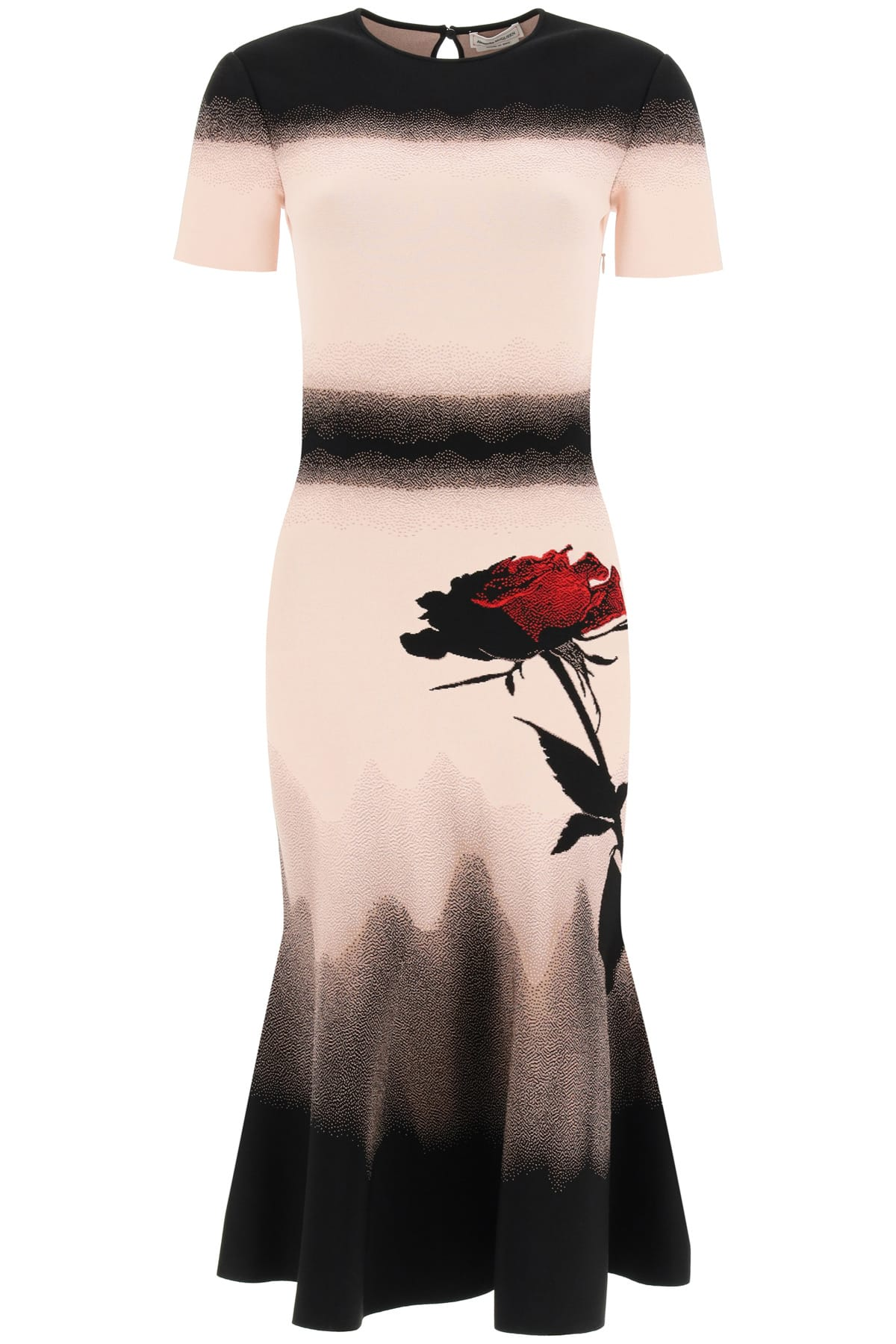ALEXANDER MCQUEEN KNIT MIDI DRESS WITH ROSE S Pink, Black, Red