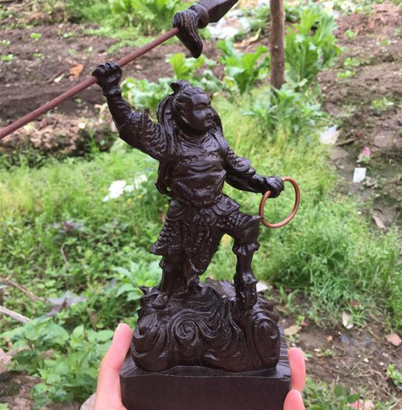 新品越南沉香木雕哪吒三太子實木佛像雕刻木質家居供奉工藝品1入