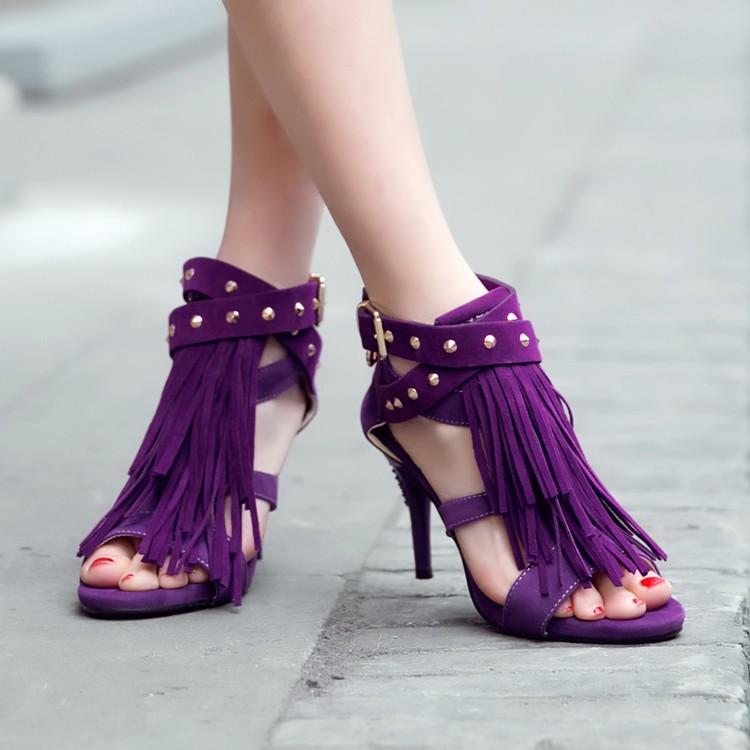 超漂亮 紫色紅色藍色黑色鉚釘流蘇魚口露趾短靴跟高八公分33碼~41碼 流蘇鉚釘魚口露趾短靴踝靴 網紅網美女神穿搭款靴