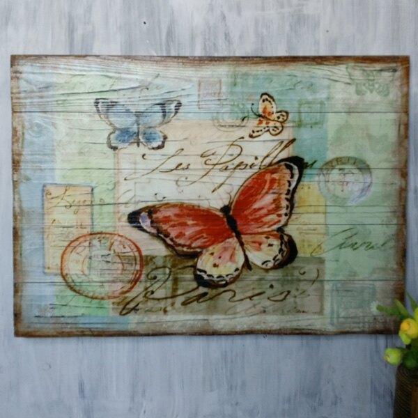 法式田園復古小鳥沙發背景裝飾畫餐廳客廳實木板畫壁掛畫墻飾壁飾1入