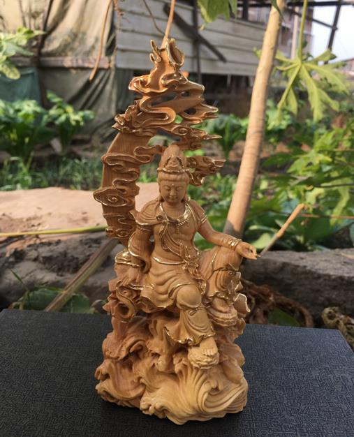 小葉黃楊木雕中式精品家居風水雕刻工藝品人物佛像擺件水月觀音1入