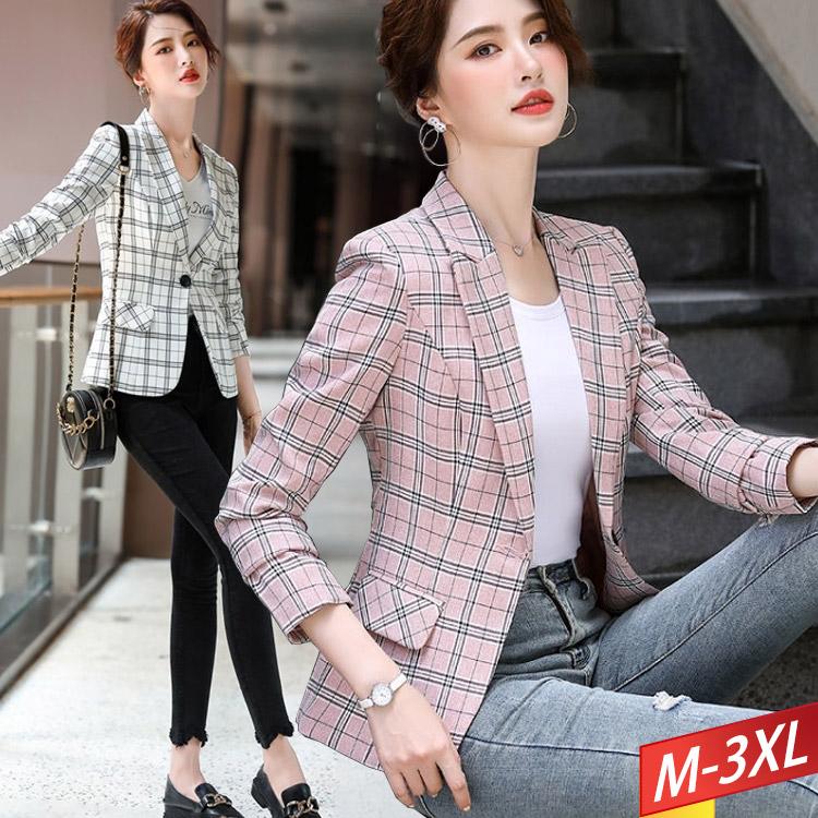 格子西裝外套(2色) M~3XL【944234W】【現+預】-流行前線-