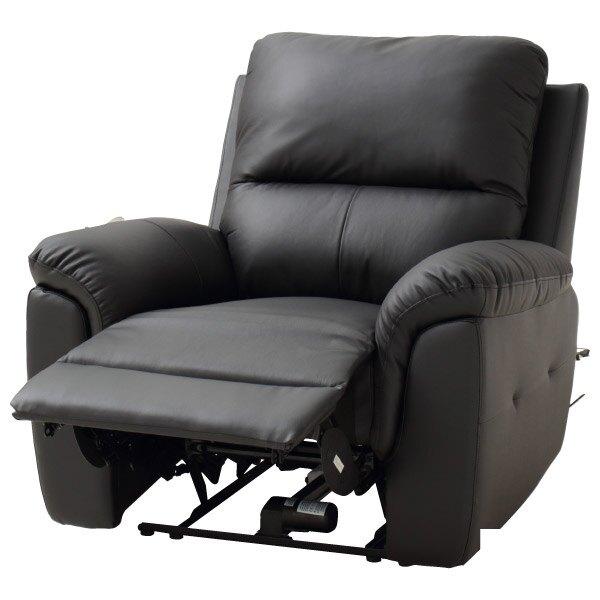◎半皮1人用電動可躺式沙發 N-BEAZEL BK NITORI宜得利家居