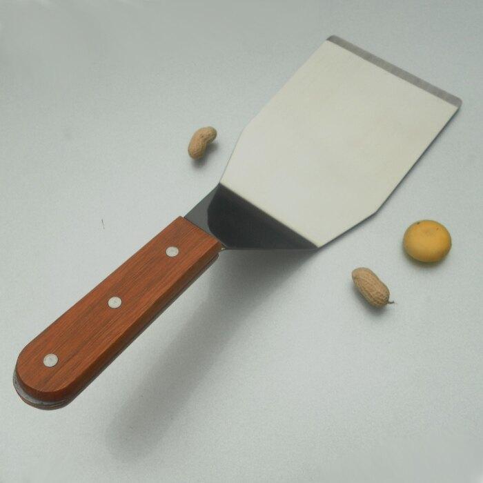 不銹鋼帶木柄扒鏟 彎柄鏟 鐵板鏟 披薩鏟 煎餅鏟 紅木柄鏟1入