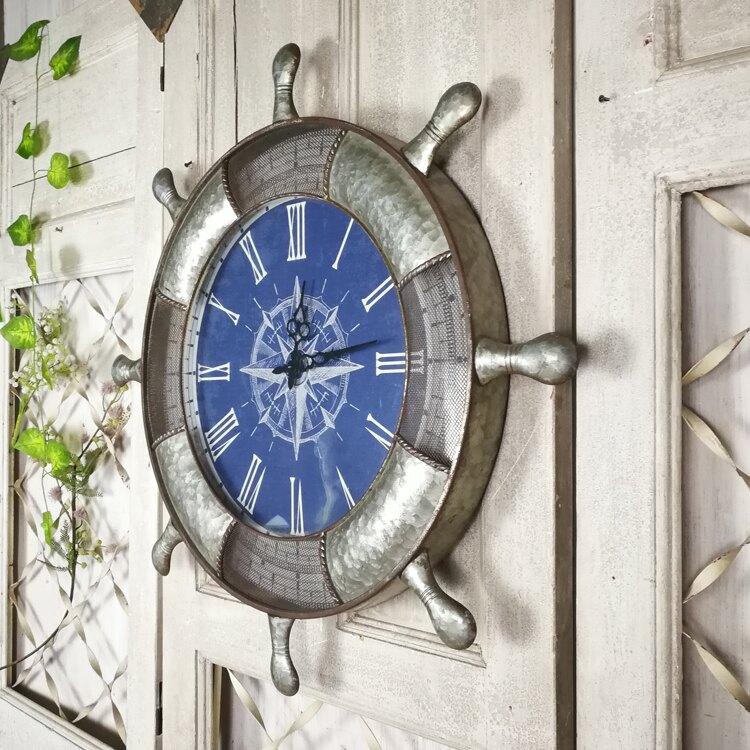 地中海鐵藝做舊船舵裝飾掛鐘 海洋主題餐廳墻面壁飾鐘表1入