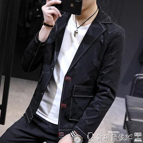 西裝外套 小西裝男韓版潮流上衣修身帥氣春秋男士西服便裝英倫休閒男裝外套 爾碩