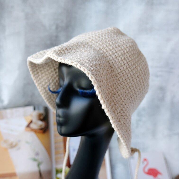秋冬保暖蘿莉帽女多色百搭鄉村風粗棉線親子帽1入
